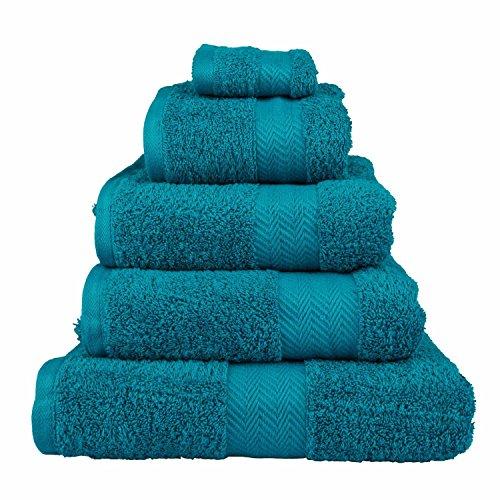 Homescapes Toalla de lujo suave y absorbente de algodón egipcio verde azulado 500gr/m², algodón egipcio, Bleu sarcelle, Drap de bain 95 x 150 cm