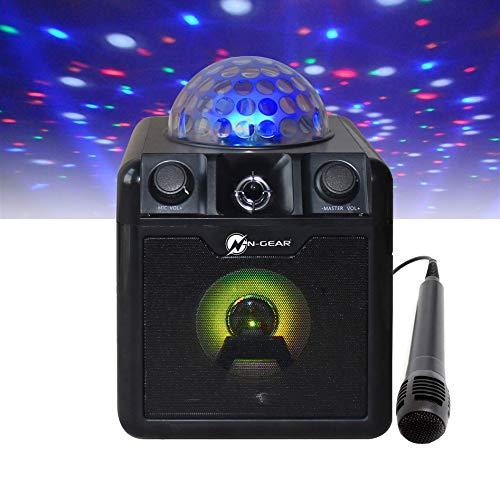 N-Gear DISCO410 Karaoke & Party Bluetooth Lautsprecher mit Discokugel, Mikrofon & Powerbank-Funktion, schwarz
