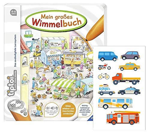 TipToi Ravensburger Livre d'images Mein großes Wimmelbuch avec stickers pour enfants inclus