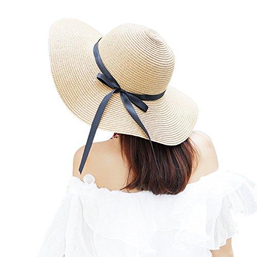 LAEMILIA Damen Sommer Strand Sonne Hüte Wide Rand Mit Schleife Strohhut Strandhut Sommerhut Damenhut