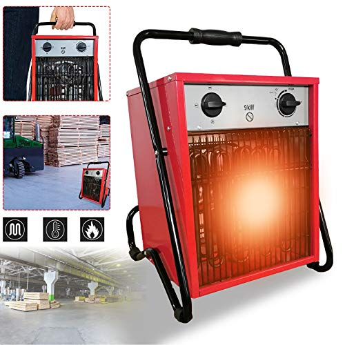 Calefactor eléctrico portátil portátil de Aufun, calefactor portátil con 3 niveles de calor para taller, camping, garaje 9KW