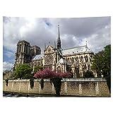 MEVIDA Notre Dame De Paris Memorial Tapestry, Frankreich Berühmten Gebäude Wand Decke Kunst Sammlung Dekor Tuch Digital Gedruckt Wandteppich-h 150x130cm(59x51inch)