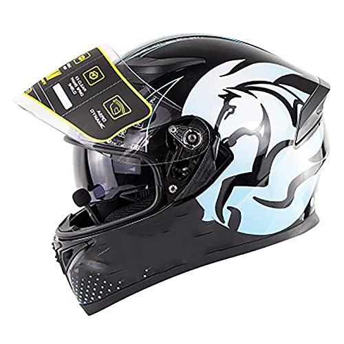 Casco De Moto Modular Bluetooth Integrado, con Doble Visera Cascos De Motocicleta, Casco Integral DOT/ECE Homologado para Respuesta Automática Hombres Mujeres E,L=59~60CM