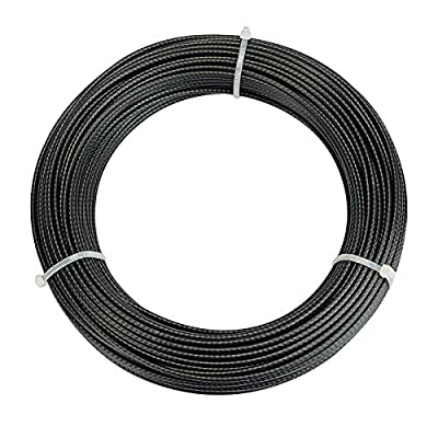 """Muzata Wire Rope Black Vinyl Coated Stainless Steel 1/4"""" Cable 165 Feet for Railing Decking Stair Balustrade Dog Run Clothes Lines Outdoors DIY,7x7 Strand WR11,Series WP1 WC1"""