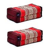 LEEWADEE Set de 2 Bloques de Yoga pequeños – Cojines para Pilates, Almohadas para el Suelo Hechas a Mano de kapok, 35 x 18 x 12 cm, Set de 2, Rojo