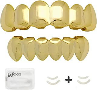 14k Gold Plated Hip Hop 6 Teeth Grills Caps Top & Bottom Grills Set with 4 Silicon Molding Bars(2 Extra)