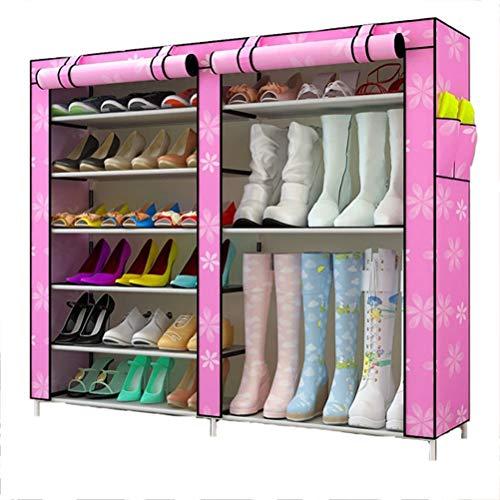 Wanforjewellery 2 * 6 Faltschrank Schuhständer, Staubdichtes Stoffschuhschrank Stoffschrank Schuhe, 120(L)*110(W) 30(H) cm,pink