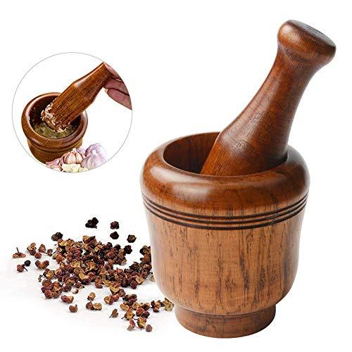 Juego de mortero de madera y pillo, molinillo de especias de
