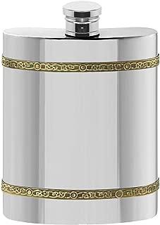 English Pewter Company 6oz Brass Celtic Band Pewter Liquor Hip Flask [CEL489]