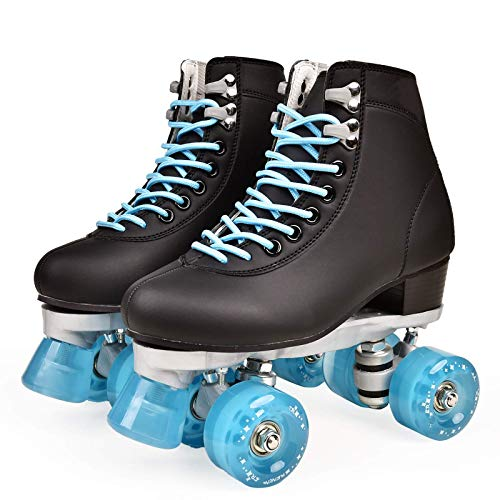 Zjcpow Roller Skates Dytxe Quad for niñas y Mujeres al Aire Libre, Cubierta y Pista de Patinaje, clásico de Alta Manguito con el Sistema de Encaje Ajustable, Azul, 40 xuwuhz