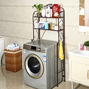 LBYMYB Rack Washing Machine Storage Rack Bathroom Storage Shelf Washbasin Toilet Toilet Shelf 68x28x165CM Shelf  color BROWN