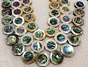 [ABCgems] Rare Tahitian Black Lip Oyster (New Zealand Abalone Front & Back Inlaid) 25mm Octagon Beads (2 Pieces Wholesale Lot)
