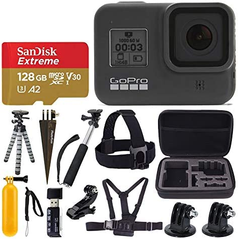 GoPro HERO8 Black Waterproof Action Camera w Touch Screen 4K HD Video 12MP Photos Sandisk Extreme product image