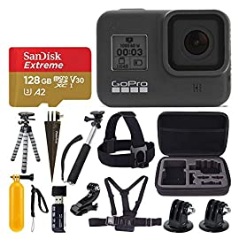 GoPro HERO8 Black Waterproof Action Camera w/Touch Screen 4K HD Video 12MP Photos +Sandisk Extreme 128GB Micro Memory… 7 EXCLUSIVE BUNDLE: This bundle Includes everything you need to start capturing your adventures and family events with high quality video/images with the newly upgraded Hero camera. GOPRO HERO 8: Vloggers, pro filmmakers and aspiring creators can do more than ever imagined -with quick loading accessories like flashes, microphones, LCD screens and more. Just add the optional Media Mod to up your capture game. CAMERA KEY FEATURES: HyperSmooth 2.0 Video Stabilization, SuperPhoto with HDR, TimeWarp 2.0 Video, LiveBurst, Live Streaming, 4K60 Video and 12MP Photos, Shoot Vertically.