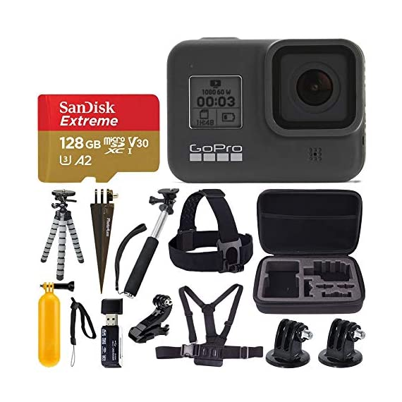 Gopro hero8 black waterproof action camera w/touch screen 4k hd video 12mp photos +sandisk extreme 128gb micro memory… 1 exclusive bundle: this bundle includes everything you need to start capturing your adventures and family events with high quality video/images with the newly upgraded hero camera. Gopro hero 8: vloggers, pro filmmakers and aspiring creators can do more than ever imagined -with quick loading accessories like flashes, microphones, lcd screens and more. Just add the optional media mod to up your capture game. Camera key features: hypersmooth 2. 0 video stabilization, superphoto with hdr, timewarp 2. 0 video, liveburst, live streaming, 4k60 video and 12mp photos, shoot vertically.