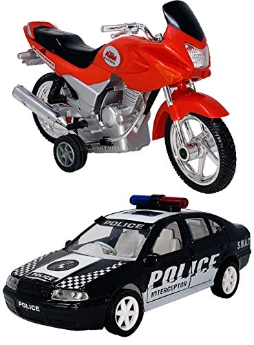 Toyify Pack Of 2 Small Size Made of Plastic Indian Look Like Replica Vehicle Toys for Boys Police Interceptor Car + Motor Cycle(Indian Model) | Made in India Toy | Also USE AS SHOWPIECE | Daily Use Toys | Pull Back Toys [2 Combo Offer]