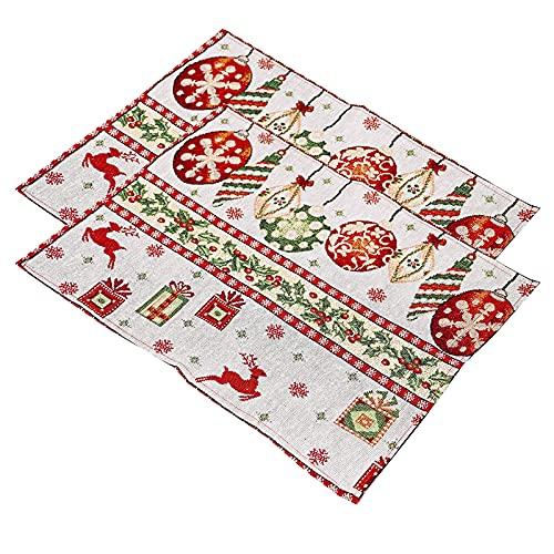 WSYW 2 manteles de tela de punto de Navidad, para mesa, reno,...