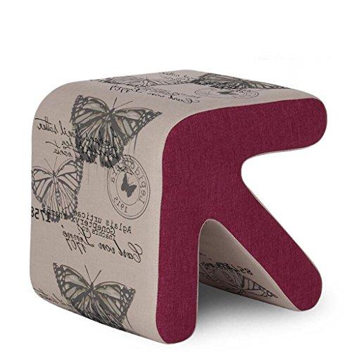 Tabouret de canapé Xuan - Worth Having Motif de Papillon de Fond Gris Clair Solide Bois flèche Tabouret Chaussures Chaussures en Cuir (Taille : 40 * 36 * 40cm)