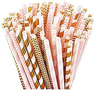 100 Pink Straws/Gold Straws for Party Supplies, Biodegradable Paper Straws, Birthday, Wedding, Bridal/Baby Shower Decorati...