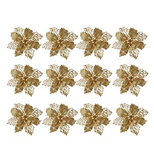 TOYANDONA 12 Pcs Glitter Poinsettia Christmas Tree Ornaments Hollow Artificial Flowers Xmas Tree Hanging Pendant Christmas Decorations Flower(Golden)