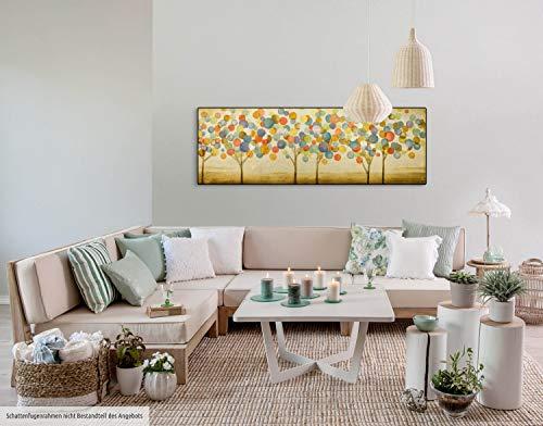 Kunstloft® Cuadro en acrílico 'Hojas de otoño Multicolor' 150x50cm | Original Pintura XXL Pintado a Mano | Árboles en el Bosque Abstracto Dorado Multicolor | Cuadro acrílico de Arte Moderno