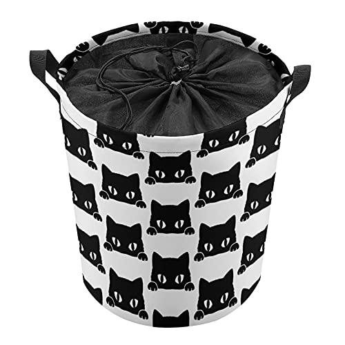 Cubo de almacenamiento impermeable grande organizador ligero cesta para la colada, cubos de juguete, cestas de regalo, ropa sucia, dormitorio de niños, baño, gato de dibujos animados negro
