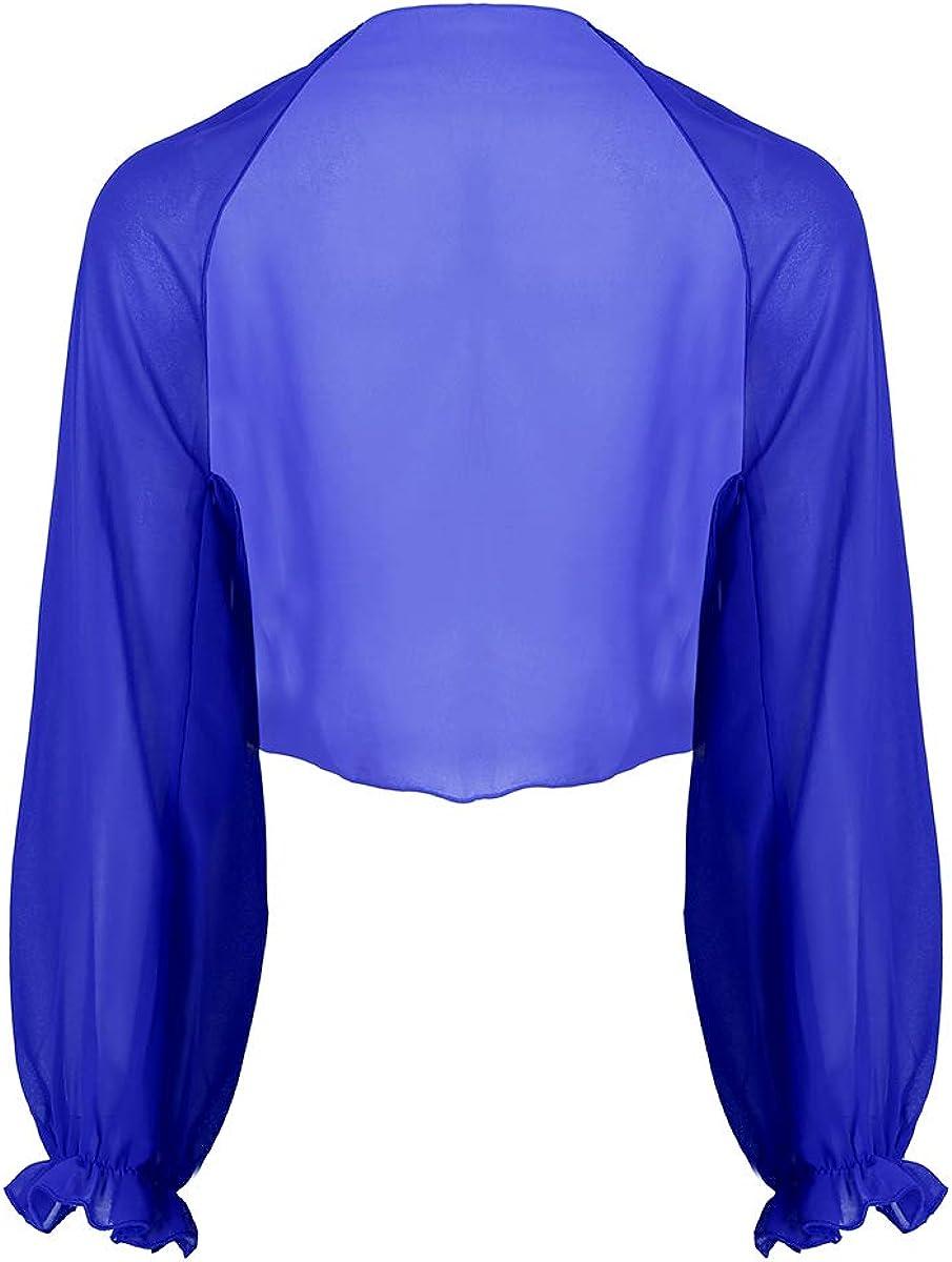 CHICTRY Women's Chiffon Long Sleeve Shawl Open Front Bolero Shrugs Jacket Cardigan