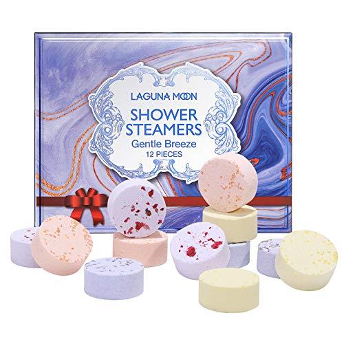 Lagunamoon Juego de regalo de autocuidado de vaporizadores de ducha de aromaterapia, bombas de ducha de relajación de spa en casa de lavanda, rosa, cedro e higo y verbena