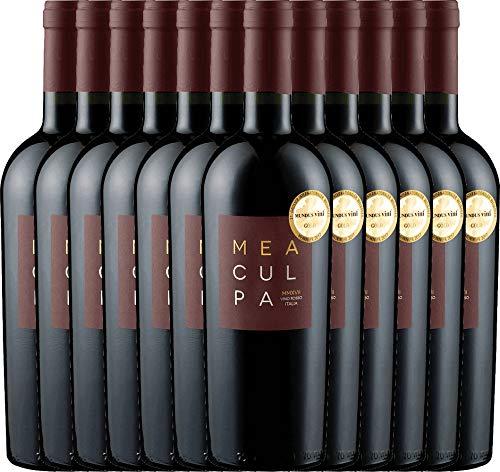 VINELLO 12er Weinpaket Rotwein - MEA CULPA Vino Rosso Italia - Cantine Minini mit Weinausgießer | halbtrockener Rotwein | italienischer Wein aus Apulien und Sizilien | 12 x 0,75 Liter