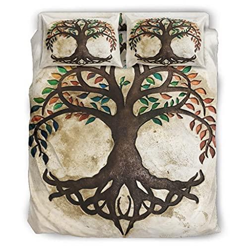 Wandlovers Juego de ropa de cama de 4 piezas, diseño vikingo del árbol de la vida con impresión...