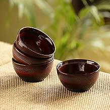 ExclusiveLane 'Crimson Shields' Microwave Safe Ceramic Cereal Serving Bowls Set (280 ML, Set of 4) (Black, Crimson & Ombre Blue)