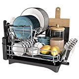 Large Dish Drying Rack, JASIWAY Dish Rack and Drainboard Set, 2 Tier Stainless Steel with Drainboard for Kitchen Counter, Dish Drainer with Utensil and Knife Holder, Cutting Board Holder