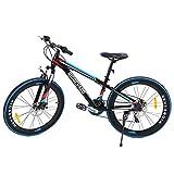 MuGuang 26 Pulgadas de 21 velocidades de Bicicleta MTB Frenos de Disco de Bicicleta de Montaña Unisex para Adulto Mountain Bike (Negro+Azul)