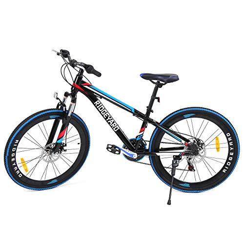 MuGuang 26 Pollici 21 velocità Bicicletta MTB Freni a Disco Mountain Bike Unisex per Adulti (Nero+Blu)