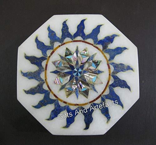 Caja de 10 x 10 cm de lapislázuli con incrustaciones de piedra para arte de marquetería y accesorios para oraganizar cosas
