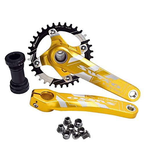 hengguang 1 Juego De Manivela, Juego De Bielas para Bicicleta MTB, 170Mm 32T 34T 36 38T, Juego De Bielas De Soporte Inferior para 9-11 Velocidades 38 T/Dorado