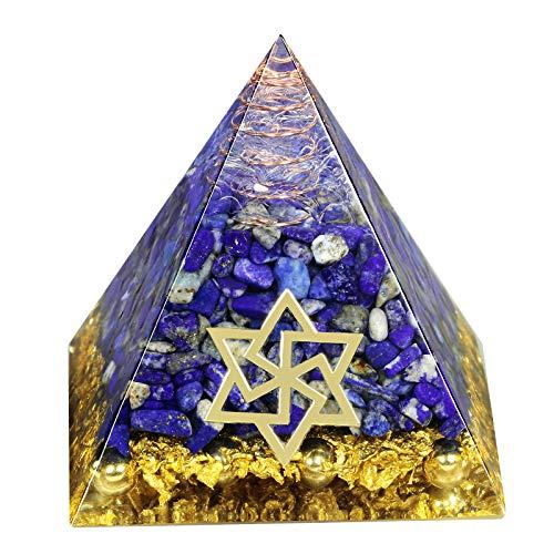Amogeeli Lapislázuli - Pirámide de cristal para reiki, diseño de estrella de David
