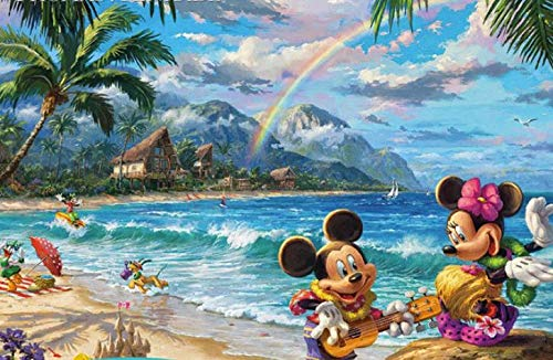 Ceaco 750 Piece Thomas Kinkade The Disney Collection - Mickey and Minnie in Hawaii Jigsaw Puzzle, Kids and Adults