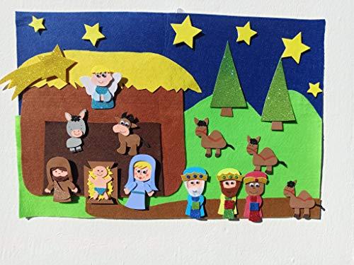 trivishOOp Portal de Belen Fieltro 22 pzas, Nacimiento Niño Jesus Decoracion Juego Regalo Navidad (60x40 cm)