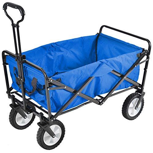 (OSJ)アウトドアワゴン 折りたたみ式 キャリーカート 棚 軽量 耐荷重100kg 容量約103L ストッパー付き 収納ケース 大型ノーパンクラバータイヤ (ブルー)