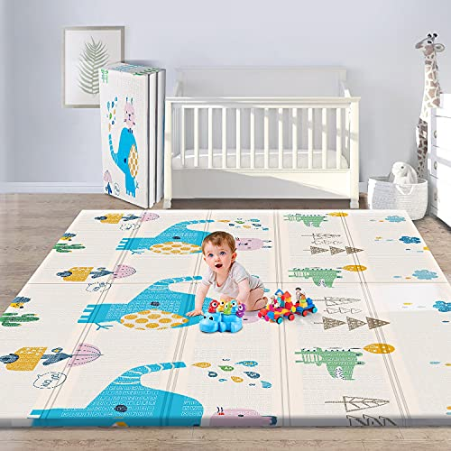 Gimars XL BPA Free 0.4 in Reversible Foldable Baby Play Mat, Waterproof Foam Floor Baby Crawling Mat, Portable Baby Playmat for Infants, Toddler, Kids, Indoor Outdoor Use (79 x71x0.4inch)