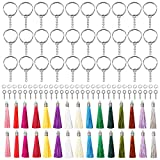 YSDMY 120 piezas Juego de Llavero con Colgante de Borla 30 colgantes de borlas 30 anillos de llavero para colgantes de pulseras artesanales