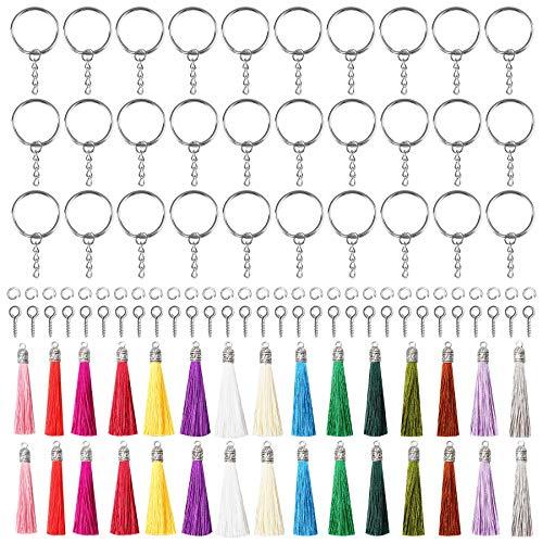 YSDMY Glands Pendentif 120 Pièces Mini Glands Pompon Porte Cles, Pendentifs Pompons Loisirs Créatifs avec Porte Cles, Vis à œillet et Anneaux Ouverts pour DIY Porte-Clés Bijoux Accessoires