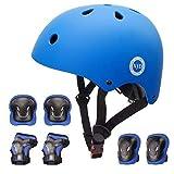 XJD Fahrradhelm Kinder Schoner Set(7er) für Kinder Helm Klassiker 1.0 +Knie-& Ellenbogen- & Handgelenkschützer Schutzausrüstung für Multisport Roller Skateboard Fahren Scooter 3-13 JahreBlau