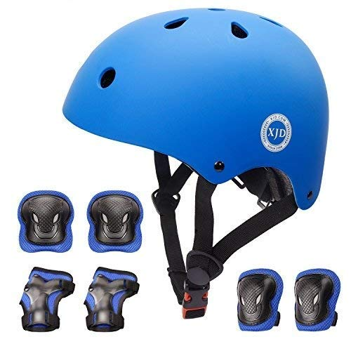 XJDXJD Fahrradhelm Kinder Schoner Set(7er) für Kinder Helm Klassiker 1.0 +Knie-& Ellenbogen- & Handgelenkschützer Schutzausrüstung für Multisport Roller Skateboard Fahren Scooter 3-13 JahreBlau