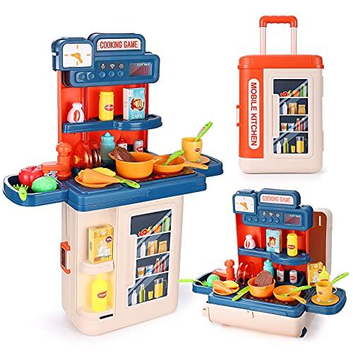 Czemo Cocina Juguete Cocinita 41 Piezas Cocinas de Juguete para Niños Cosplay Juguetes de Niñas con Luz y Efectos de Sonido Cocina de Inducción Fregadero (Maleta 4 en 1)