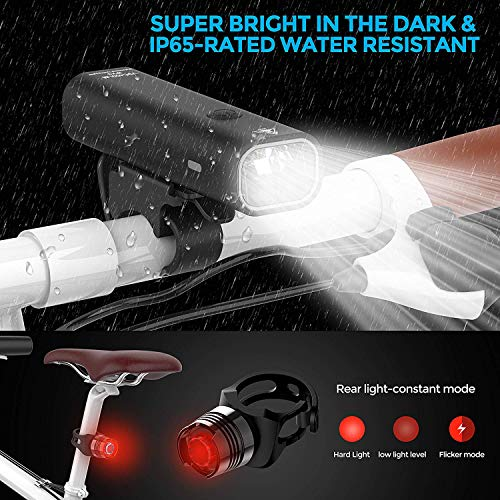 TEMINICE USB Rechargeable Bike Light Set, Runtime 8+ Hours 400 Lumen Super Bright Headlight Front Lights and Back Rear LED,4 Light Mode Fits All Bicycles, Mountain,Road