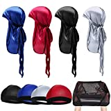 Oaoleer 4PCS Silky Durags for Men,With 5 PCS Elastic Wave Cap Long Tail Headwraps Wide Straps Waves