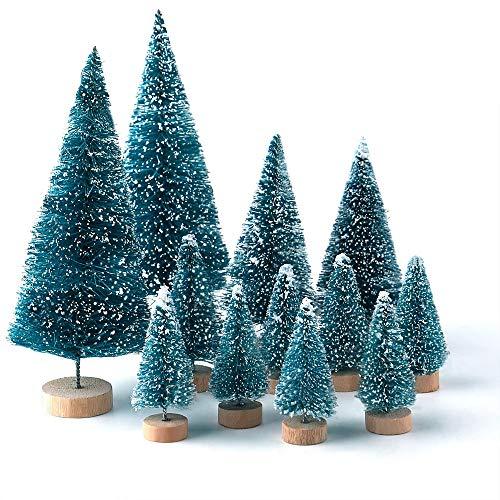 KUUQA 28Pz Mini Modello Alberi da Neve Gelo Spazzola per Bottiglie Alberi Alberi di Natale in plastica Ornamenti da Neve in Inverno Alberi da Tavolo Modello per Decorazioni per Feste Natalizie