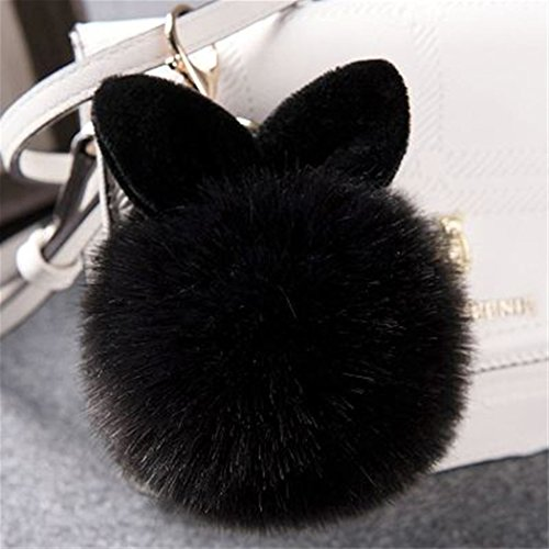 12 cm Rabbit Ears Fur Ball Bag Charms with Golden Keyring Pom Pom, Fluffy Fur Ball Keychain for Car Keyring, Charm Gift (Black)